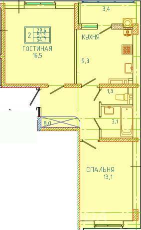 Продаю 2-комн квартиру 55 кв м,  Ставрополь