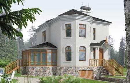 Проект дома из газоблоков 7х10 м с мансардой и эркером,  Москва