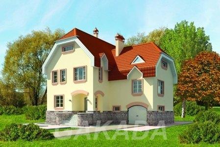 Двухэтажный дом из газобетона на 250 кв м с фигурной крыше,  Москва