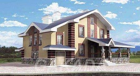 Двухэтажный дом из газобетона с 5 комнатами и гаражом,  Москва