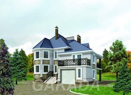Проект дома из газобетона от 200 кв м с мансардой и эркеро,  Москва
