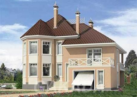 Проект дома из газобетона 12х13 м с мансардой и эркером,  Москва