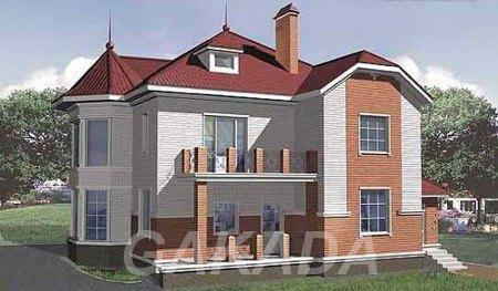 Проект дома из газобетона на 225 кв м с мансардой и эркеро,  Москва