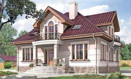 Двухэтажный дом из газобетона 12х12 м с фигурной крышей,  Москва