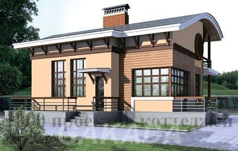 Дом из кирпича с тиле модерн с мансардой и волнообразной к,  Москва