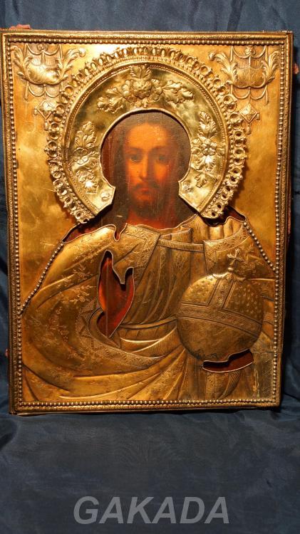 Икона Спасителя в тяжелом кованом окладе серебро, Вся Россия
