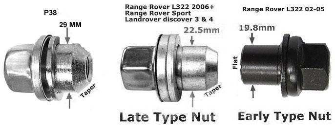 Гайки для колес Range Rover L322, Вся Россия