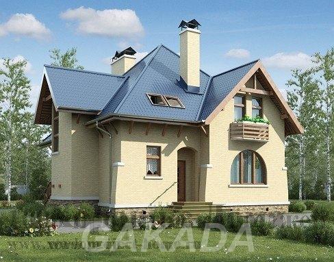 Проект кирпичного двухэтажного дома на 155 кв м с ломаной,  Москва