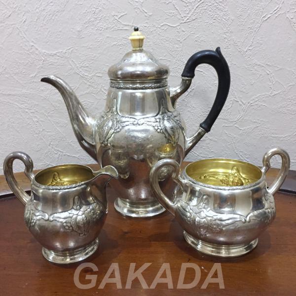 Старинный чайный набор из серебра 835 пробы в стиле Модерн, Вся Россия