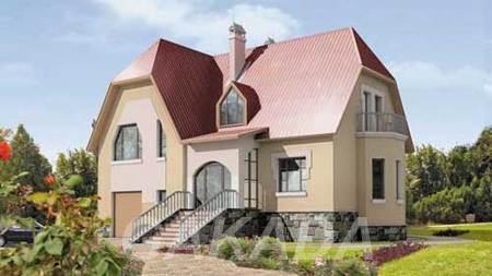 Проект дома из газоблоков 10 на 13 м с мансардой с фигурно,  Москва