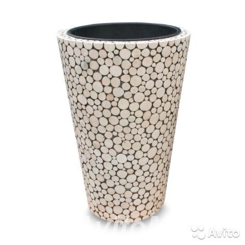 Кашпо Nobilis Marco Wood Laces Vase Белое - 2 Разм,  Москва
