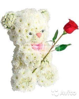 Фигура из цветов Мишка с розой,  Москва