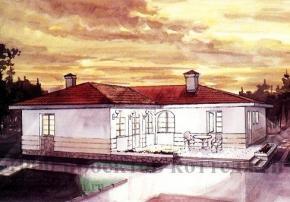 Проект одноэтажного кирпичного дома в стиле ранчо