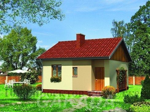 Одноэтажный дом из кирпича 6 на 7 м с гостиной студией,  Москва