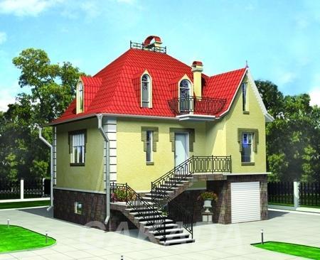 Загородный дом с мансардой 7 x 8 из пенобетона газобетона,  Москва