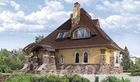 Шикарные формы этого особняка из кирпича,  Москва