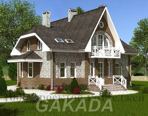 Двухэтажный кирпичный дом с полукруглым эркером,  Москва