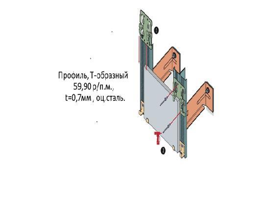 Т профиль 65х30 мм t 0 7 мм оцин сталь 59 90 р п м несущая,  Москва
