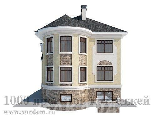 Трёхэтажный кирпичный дом с полукруглыми эркерами,  Москва