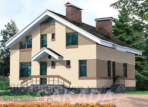 Двухэтажный кирпичный дом на 208 кв м с двускатной крышей,  Москва